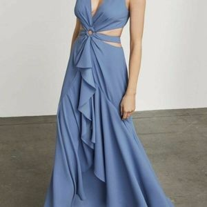 """Victoriya"" High-Low Gown Misty Blue Long Prom NEW"